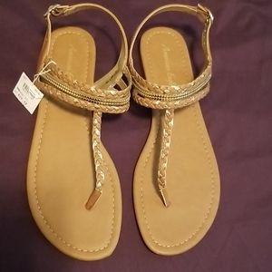 Cognac & Gold Flat Sandals